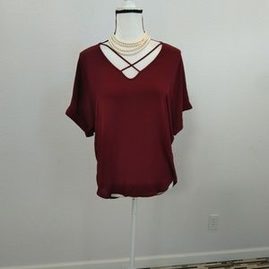 Lush burgandy top size small